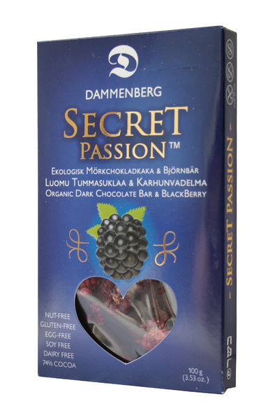 Secret Passion organic blackberry dark chocolate bar 74 % 70g (2,47 oz.)